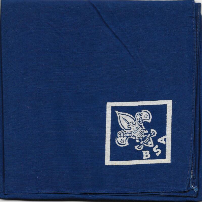 Generic WHT Silkscreened BLU Square Neckerchief Boy Scouts of America BSA