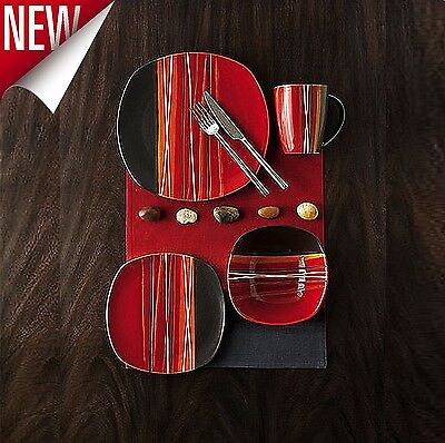16 Piece Square Dinnerware Set Dishes Dinner Stoneware Plates Kitchen Mugs Red