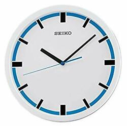 NEW SEIKO WALL CLOCK WHITE & BLUE DIAL BLACK HOUR MARKERS QUIET SWEEP HANDS