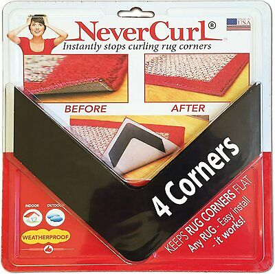 4-Piece Rug Gripper Corners No Slip Indoor Outdoor NEVERCURL New