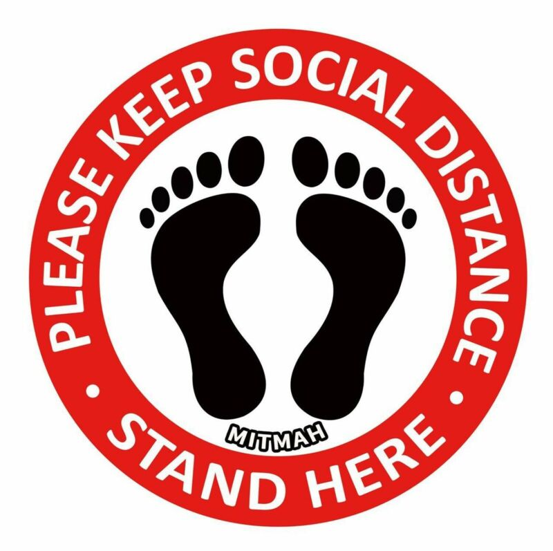 """Social Distancing Floor Decals 9"""" Round Sticker Markers Pack Of 10 , For 6 Foot"""