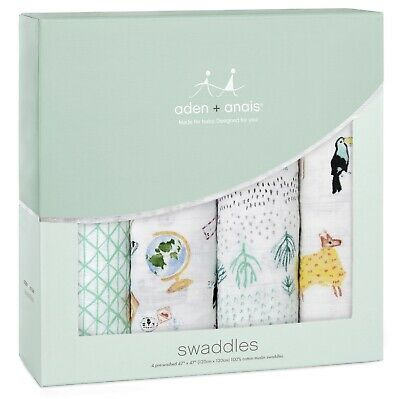 Aden & Anais Classic Cotton Muslin 47 x 47 Baby Swaddles Around The World 4 Pack