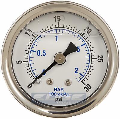 Liquid Filled Pressure Gauge 0-30 Psi 1.5 Face 18 Npt Back Mount
