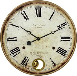 Rustic Distressed Wall Clock Round Pendulum Vintage Antique Style Large Display