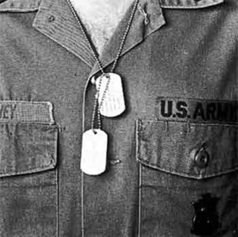 MILITARY DOG TAG, G.I. ISSUE -DULL- STAINLESS STEEL, DEBOSSED W/GI MACHINE #1