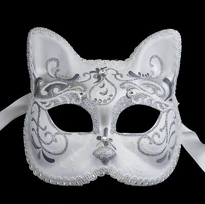Mask from Venice Silver Luxury Cat Gatto Braid Diamante Iceland 22495