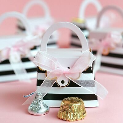 12 Striped Purse Black Pink Candy Boxes Bridal Baby Shower Party Favors MW36906 ()