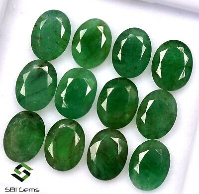 6.85 Cts Certified Natural Emerald Oval Cut 8x6 mm Lot 10 Pcs Untreated Gemstone