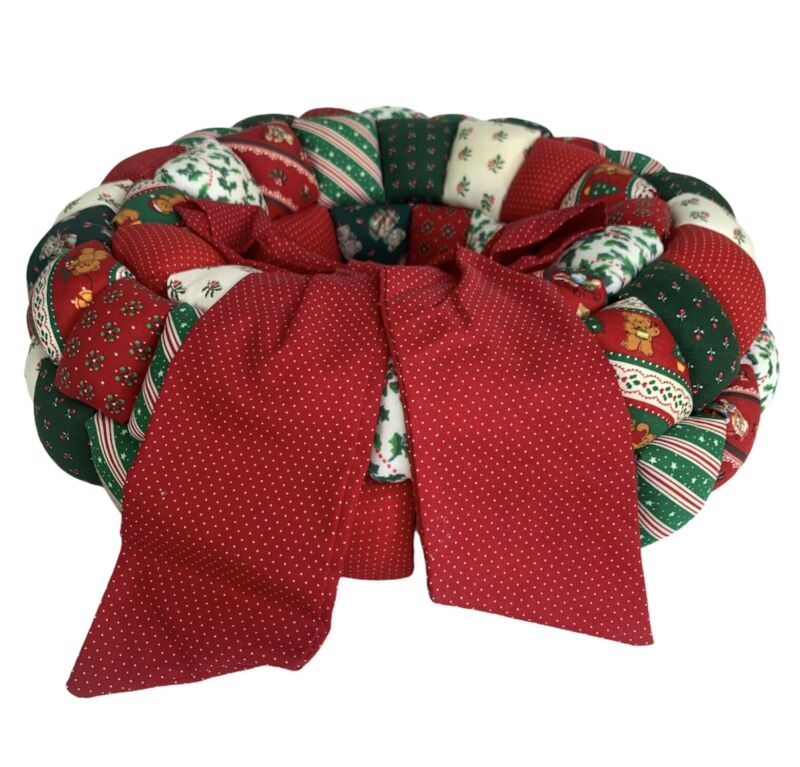 Vintage 70's Quilted Christmas Wreath Handmade Blocking Panels Colorful Fabric
