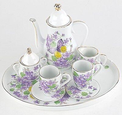 - MINIATURE WISTERIA PORCELAIN TEA SET TEAPOT SUGAR BOWL CREAMER 2 TEACUPS