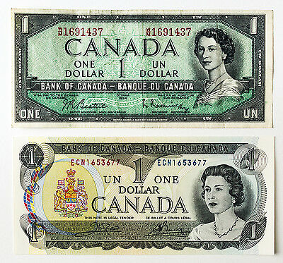 2 different Canada paper money $1 1973 Au-Unc. & $1 1954 f