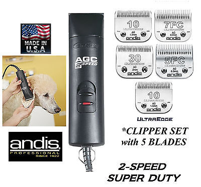 Andis SUPER PRO 2-Speed Clipper SET w/ 5 ULTRAEDGE Blades PET DOG HORSE Grooming