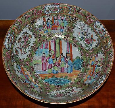 Large Antique Chinese Famille Rose Medallion Punch Bowl Porcelain 19th C