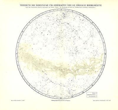 Alte Landkarte 1898: Verteilung der Nebelflecke und Sternenhaufen... Sterne (M5)