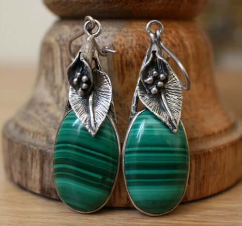 Antique Vintage 925 Silver Signed Earrings Natural Malachite Stone Hallmarked