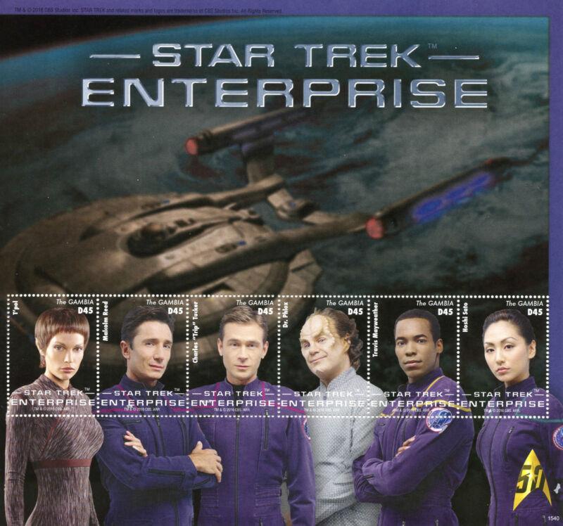 Gambia+Star+Trek+Stamps+2015+MNH+Enterprise+T%27Pol+Phlox+Tucker+Hoshi+Sato+6v+M%2FS