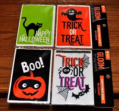 Trick or Treat Bags Set of 4 Designs 160 ct Candy Halloween Party Favors 4x6 NEW