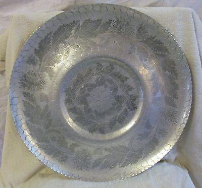 """Large 17.75"""" Vtg Hand Forged Hammered Aluminum Tray-Fluted Crimped-leaf Design"""