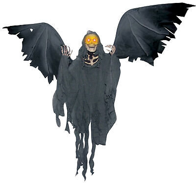 """Flying Reaper 52"""" Flapping Wings Animated Halloween Prop Haunted Decor Spirit"""