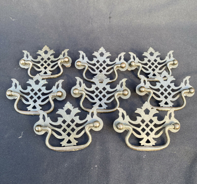8 Drawer Handles Pulls Vintage Hanging Bail Metal Brass