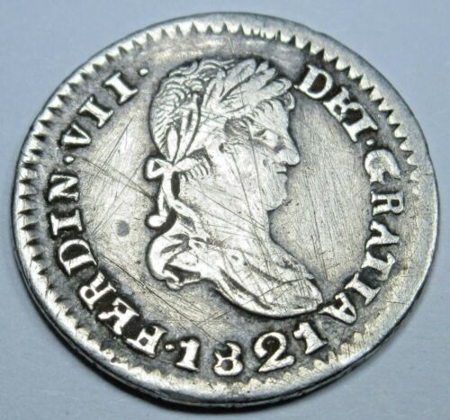 Mexico 1821 RG Zacatecas Silver 1/2 Reales Old Antique Mexican Independence Coin