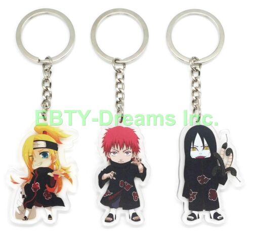 Set of 3 Naruto Anime Acrylic Keychain Akatsuki Deidara Orochimaru Sasori