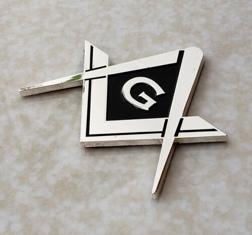 Masonic Master Mason Square & Compass G Symbol Cut Out Car Auto Emblem Silver
