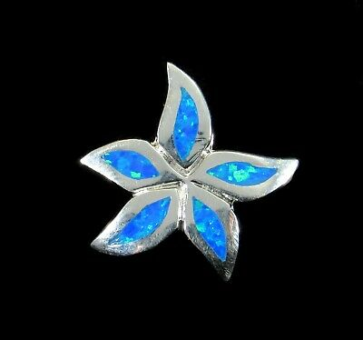 Handcrafted Solid 925 Sterling Silver & Blue Opal Plumeria Flower Slide Pendant Created Opal Slide Pendant