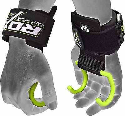 RDX Gym Hook Grips Weight Lifting Wrist Straps Gloves Support Crossfit Training