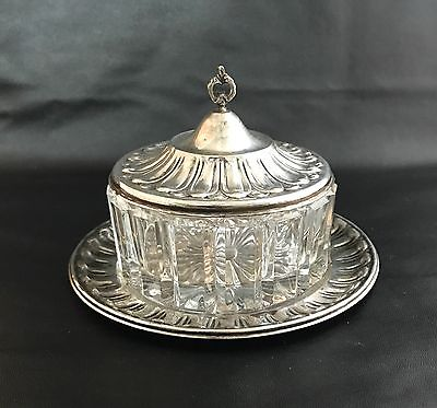Antique 800 Silver Lid Covered Butter Or Candy Cut Glass Dish for sale  Shipping to Ireland