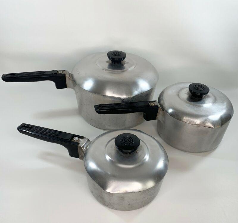 Set Of 3 Vintage Wagner Ware Sidney O Magnalite Pans 4 Qt 2 Qt Gourmet