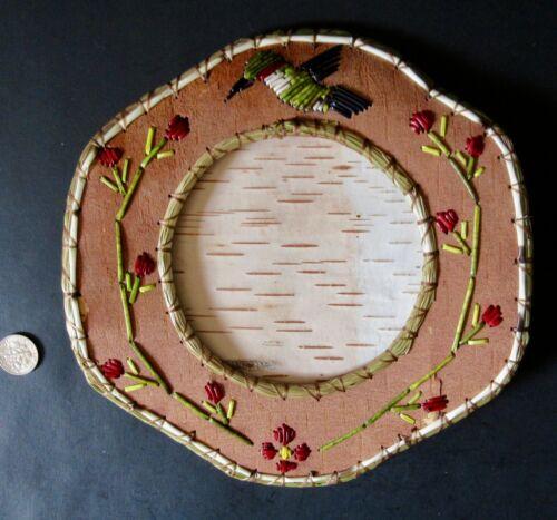 "Hummingbird, quill & birchbark picture frame-w/flowers 7""; Paul St John-Mohawk"