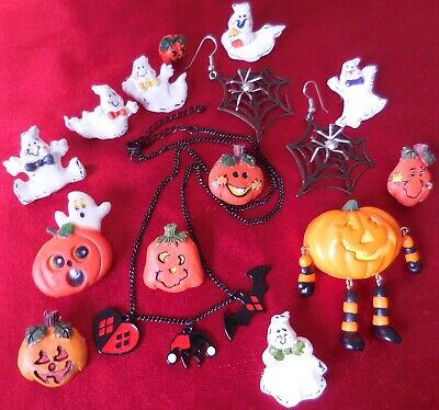 Halloween Jewelry LOT of 15 pc Earrings Pins Brooch Necklace Pumpkin Ghost VTG