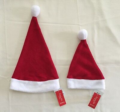 Babies Santa Hats (Family Pajamas Macy's Plush Santa Hat 1 Adult + 2 Infant One Size Candy Red)