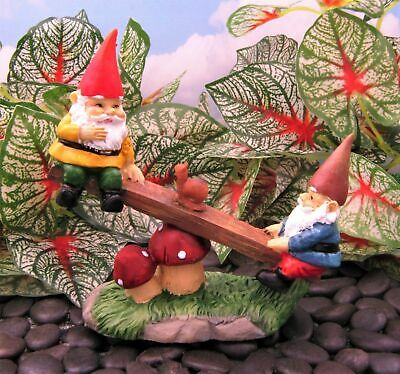 Miniature Fairy Garden Gnomes Playing on Mushroom Seesaw - Buy 3 Save $5