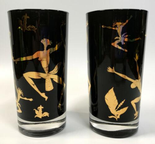 Josephine Baker (2) VTG Black Gold MCM Mid-Century Tall Tumbler Glasses Lot RARE