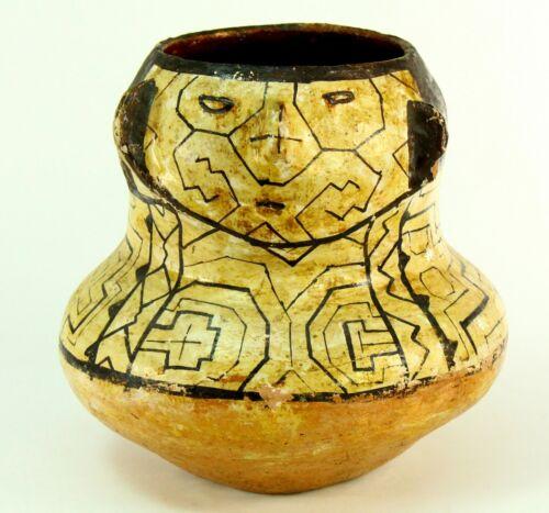 ! Antique SHIPIBO-CONIBO Amazon Peru Tribal Pottery Face Vessel Earthenware