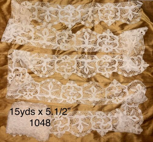 """15 ydsx 5.1/2""""Antique Hand Made Needle Lace Early 20thC-MIN.3 YARD PURCHASE 1048"""