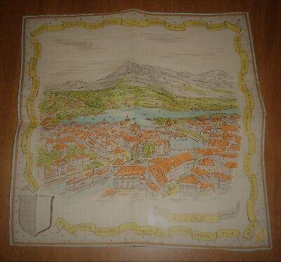 Vintage Souvenir Handkerchief Hankie - Luzern Lucerne Switzerland