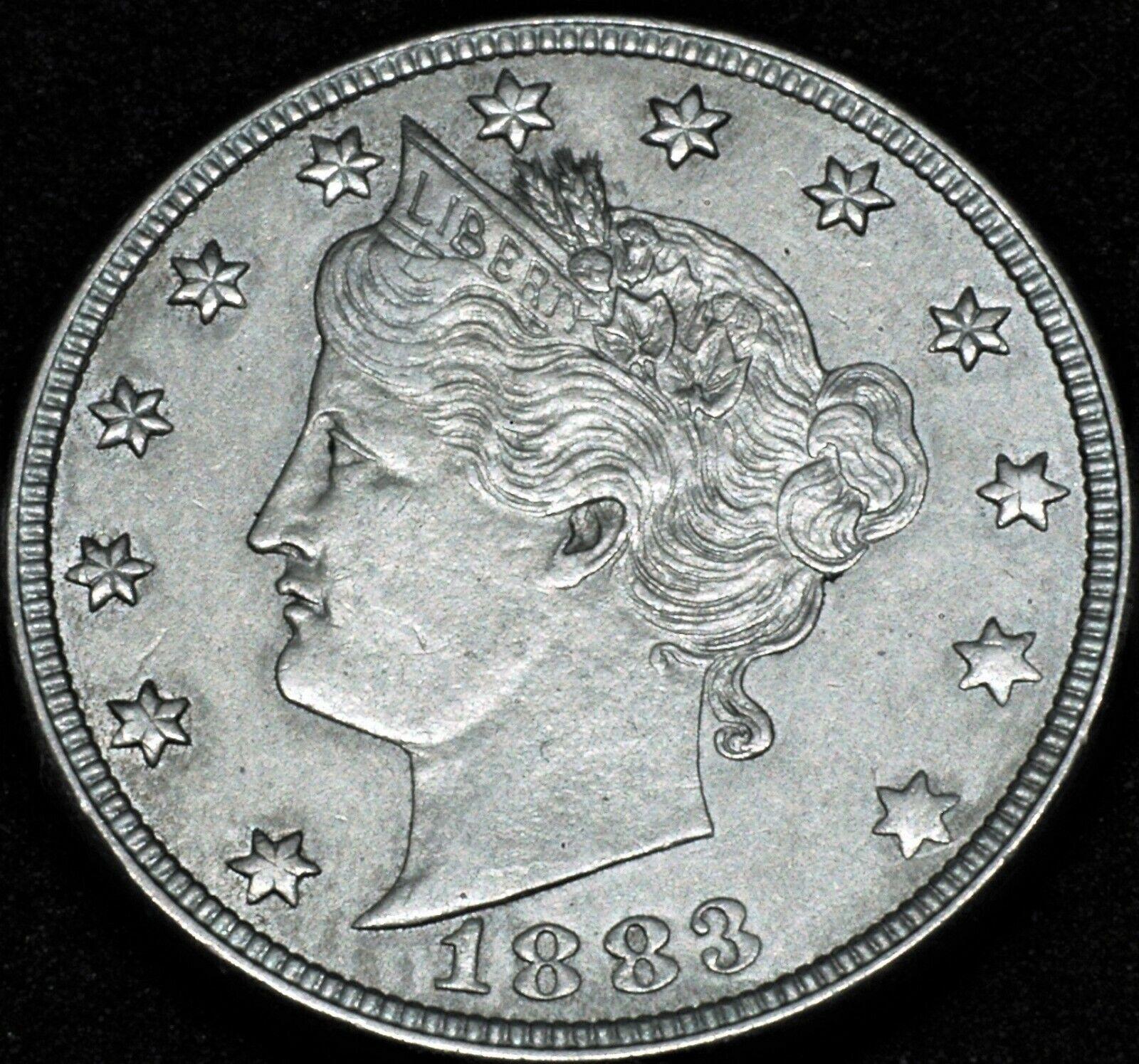 1883 U.S. Liberty V- Nickel 5c AU Details No Cents Victory Nickel - $7.95