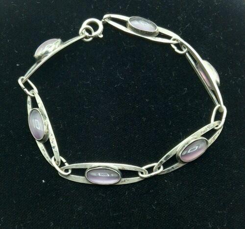 """Vintage Swedish Sterling Silver & Amethyst 7"""" Bracelet"""