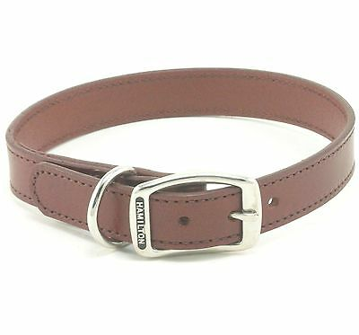 "HAMILTON Stitched Leather Dog Collar, 22"" x 1"", Brown"