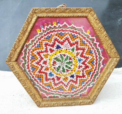 Antique+Rare+Old+Handmade+Beads+Work+Mandala+Floral+Art+In+Hexagonal+Frame