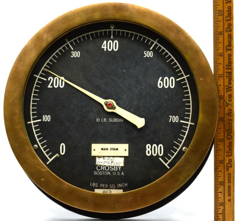 "Antique CROSBY STEAM GAUGE 10"" Gage 0-800 PSI Brass & Iron HEAVY 9.5lbs NO GLASS"