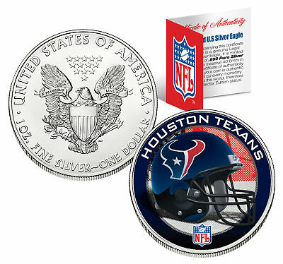 HOUSTON TEXANS 1 Oz American Silver Eagle $1 US Coin Colorized NFL LICENSED