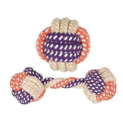 Dog puppy Rope toy set of 2 Ball & Dumbell Cotton / Polyester (not for chewers)