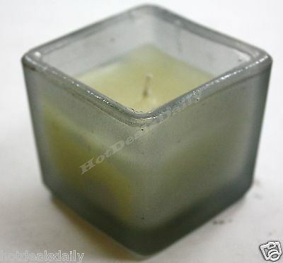 "FROSTED GLASS CANDLE SQUARE JAR 2 "" X 2"" UNSCENTED RE-USABLE AS VOTIVE HOLDER"