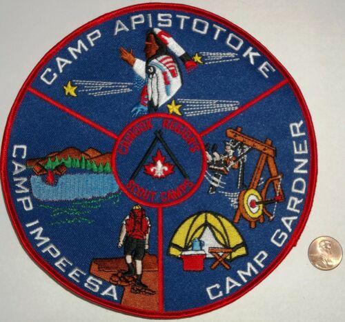 "BSA BSC CHINOOK REGION`S APISTOTOKE, GARDNER, IMPEESA CAMPS CANADIAN PATCH 7 """