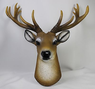 WHITE TAIL DEER HEAD WALL PLAQUE Stag Buck Antlers Figurine Statue Elk Doe Fawn
