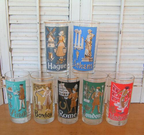 Libbey International Cities of the World 7 Highball Glasses 1959 Mid Century HTF